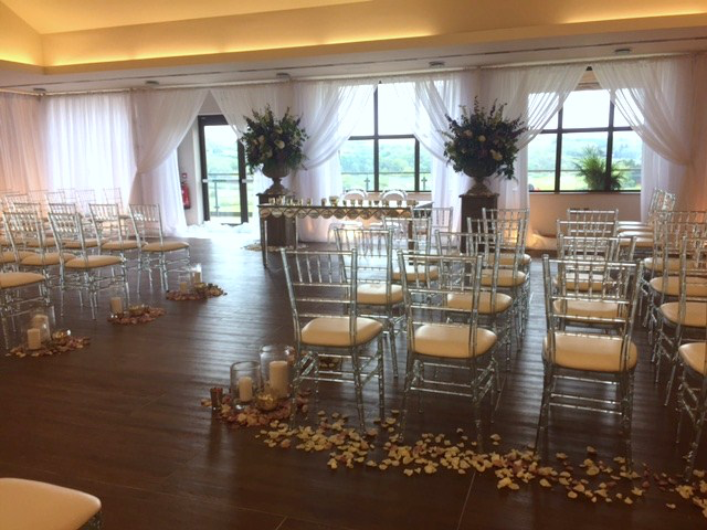 Wedding venue decorated by Wow Event Hire